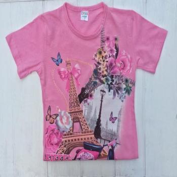 Модная розовая футболка для девочек