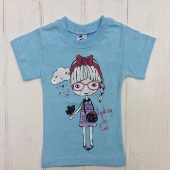 Голубая футболка для девочек