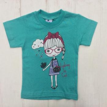 Модная футболка для девочек бирюзового цвета