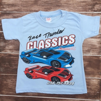 Голубая модная футболка для мальчика