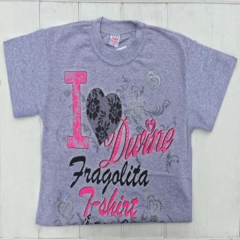 Серая футболка для девочек с принтом