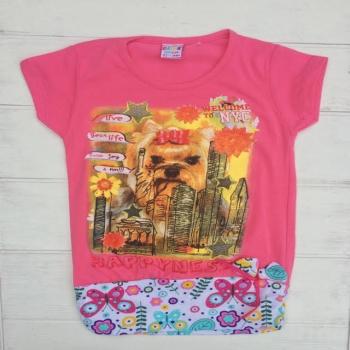 Розовая футболка-туника для девочек