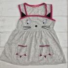 Серое трикотажное платье для девочек с ушками