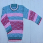 Бирюзовый вязанный свитер для девочки